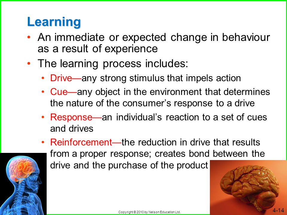 Copyright © 2010 by Nelson Education Ltd. 4-14 Learning An immediate or expected change in behaviour as a result of experience The learning process in