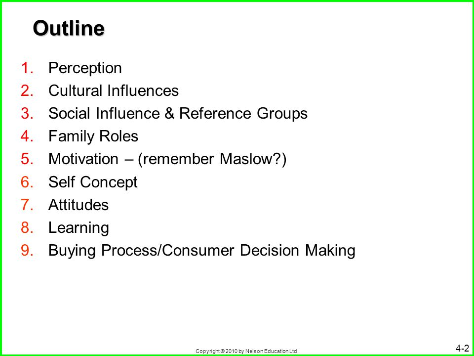 Copyright © 2010 by Nelson Education Ltd. 4-2 Outline 1.Perception 2.Cultural Influences 3.Social Influence & Reference Groups 4.Family Roles 5.Motiva