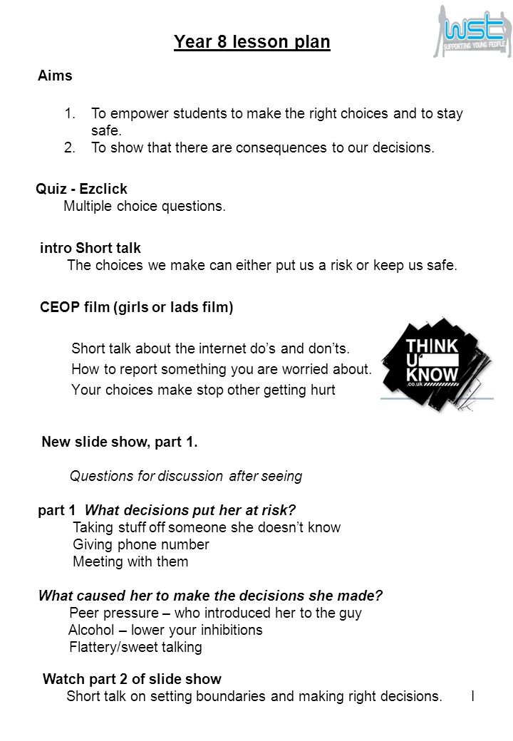 CEOP film (girls or lads film) Short talk about the internet do's and don'ts.