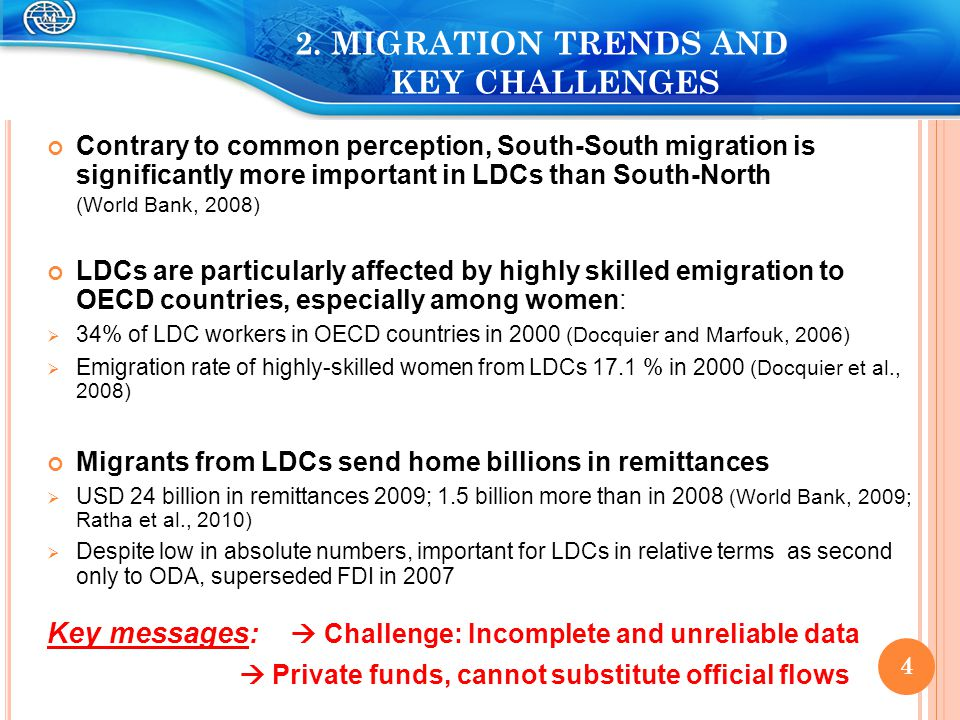 2. MIGRATION TRENDS AND KEY CHALLENGES Contrary to common perception, South-South migration is significantly more important in LDCs than South-North (