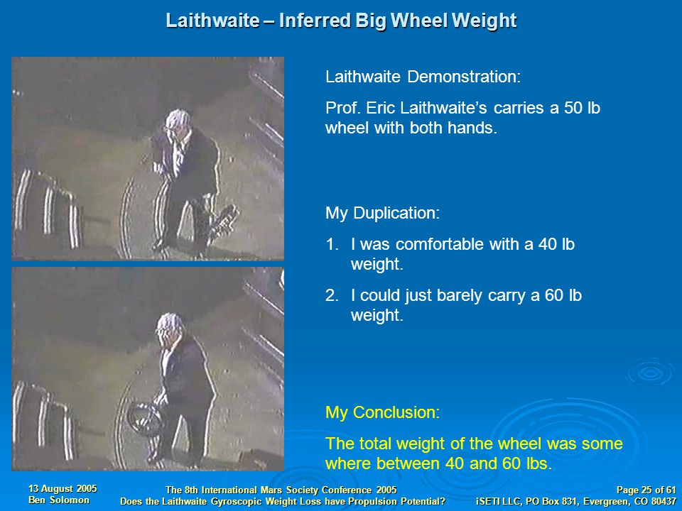13 August 2005 Ben Solomon The 8th International Mars Society Conference 2005 Does the Laithwaite Gyroscopic Weight Loss have Propulsion Potential.
