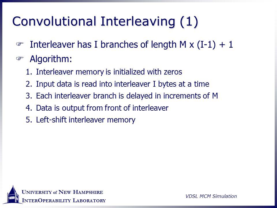 U NIVERSITY of N EW H AMPSHIRE I NTER O PERABILITY L ABORATORY VDSL MCM Simulation Convolutional Interleaving (1)  Interleaver has I branches of leng