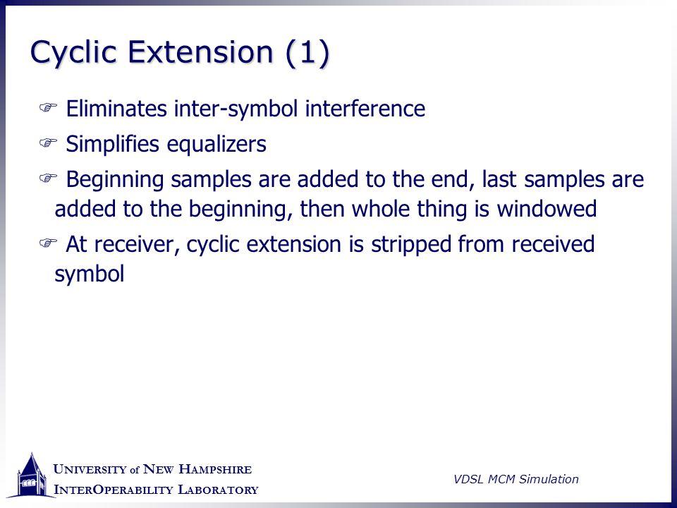 U NIVERSITY of N EW H AMPSHIRE I NTER O PERABILITY L ABORATORY VDSL MCM Simulation Cyclic Extension (1)  Eliminates inter-symbol interference  Simpl