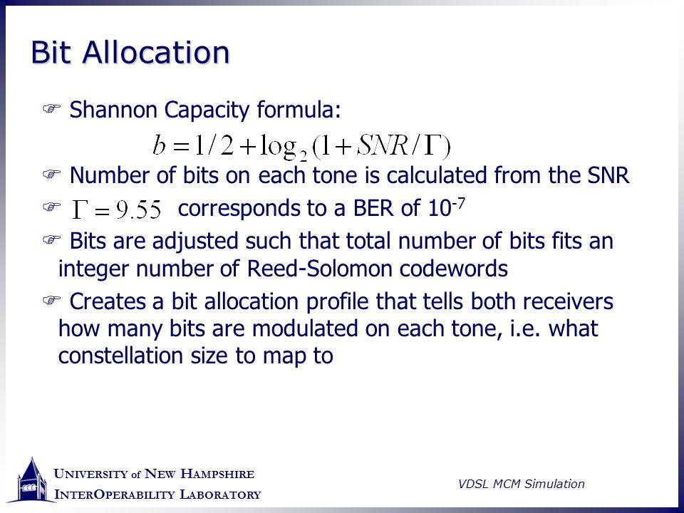 U NIVERSITY of N EW H AMPSHIRE I NTER O PERABILITY L ABORATORY VDSL MCM Simulation Bit Allocation  Shannon Capacity formula:  Number of bits on each