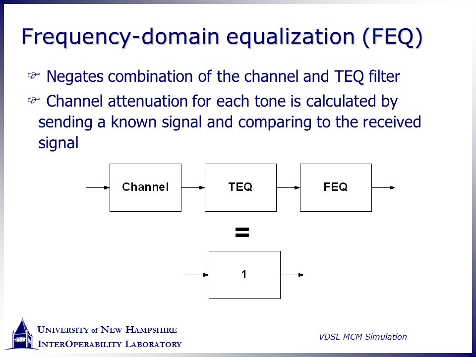 U NIVERSITY of N EW H AMPSHIRE I NTER O PERABILITY L ABORATORY VDSL MCM Simulation Frequency-domain equalization (FEQ)  Negates combination of the ch