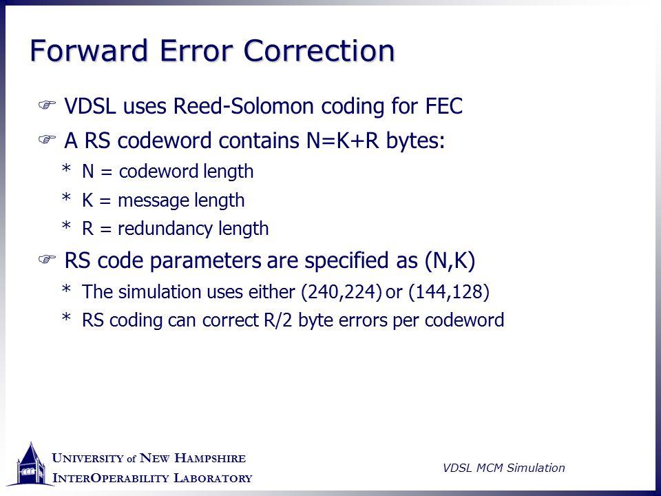 U NIVERSITY of N EW H AMPSHIRE I NTER O PERABILITY L ABORATORY VDSL MCM Simulation Forward Error Correction  VDSL uses Reed-Solomon coding for FEC 