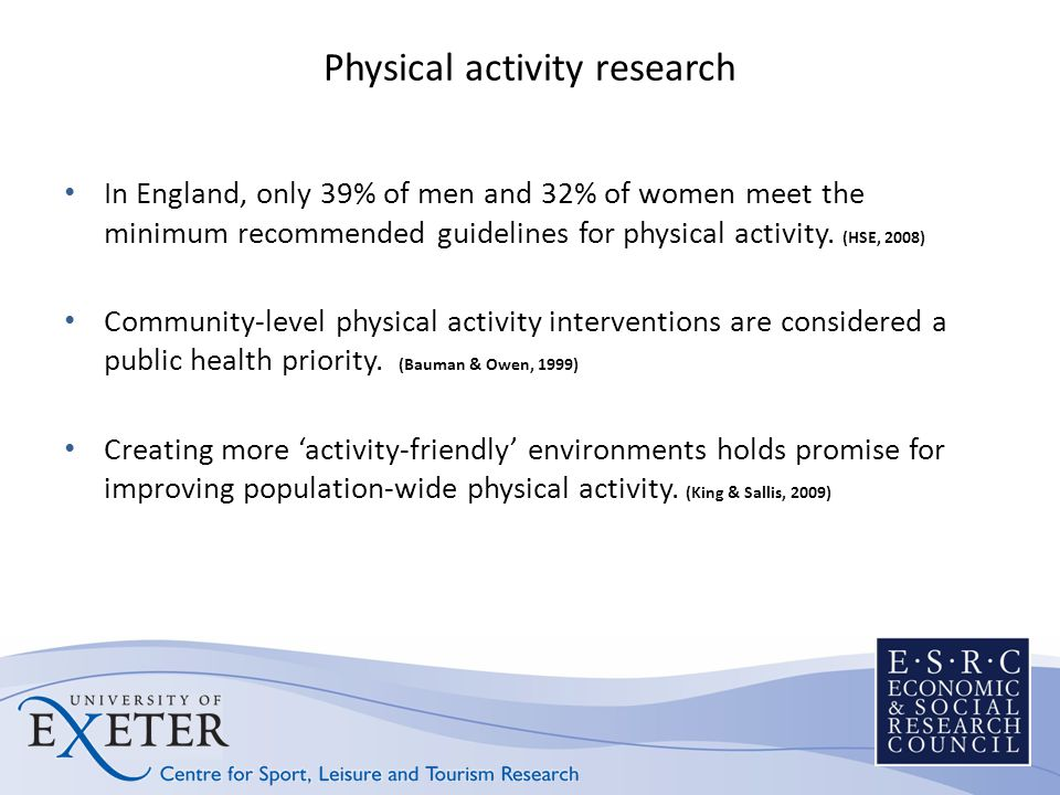 Physical activity research In England, only 39% of men and 32% of women meet the minimum recommended guidelines for physical activity.