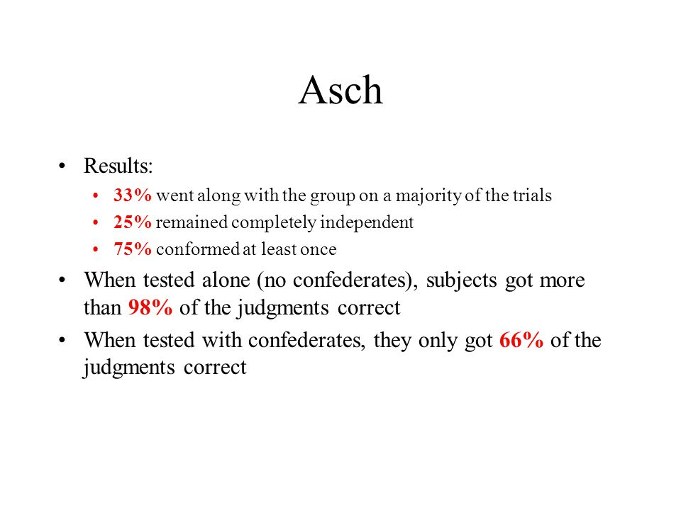 Asch Results: 33% went along with the group on a majority of the trials 25% remained completely independent 75% conformed at least once When tested alone (no confederates), subjects got more than 98% of the judgments correct When tested with confederates, they only got 66% of the judgments correct