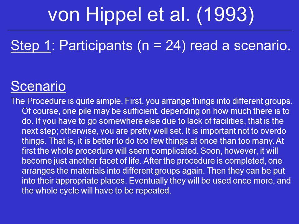 von Hippel et al. (1993) Step 1: Participants (n = 24) read a scenario.
