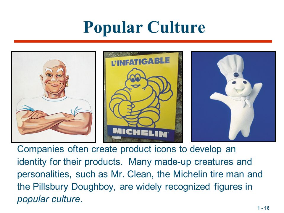1 - 16 Popular Culture Companies often create product icons to develop an identity for their products.