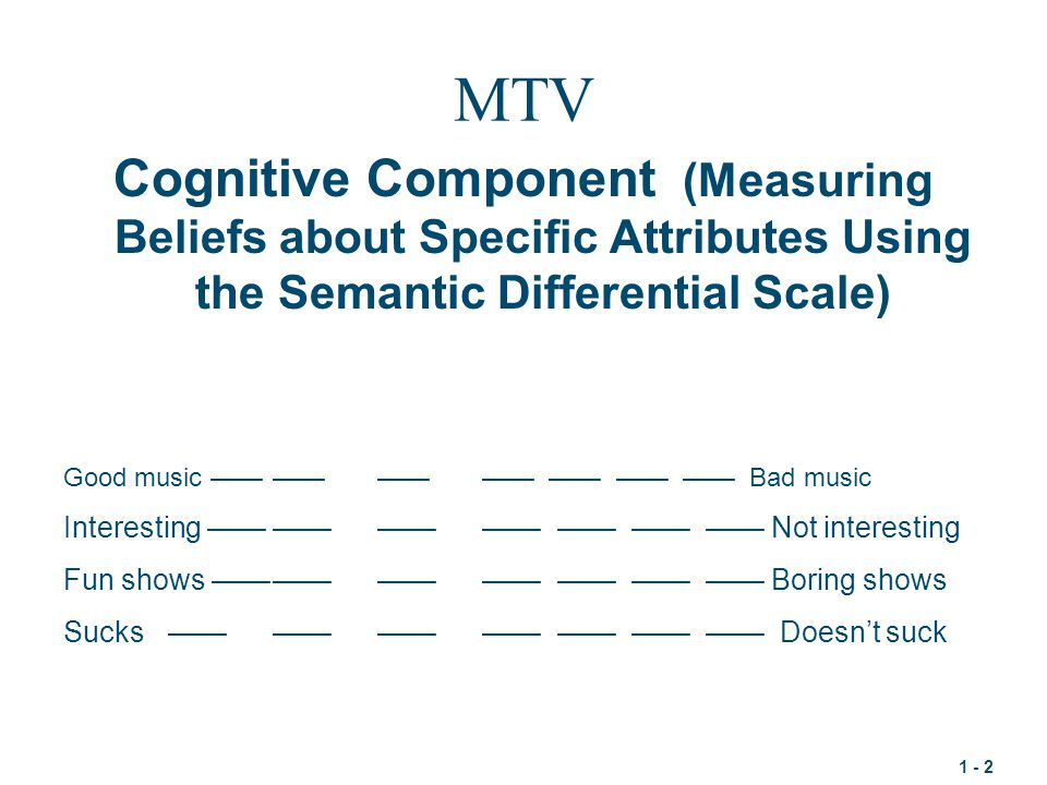 1 - 2 MTV Cognitive Component (Measuring Beliefs about Specific Attributes Using the Semantic Differential Scale) Diet Coke Good music ———————— —— —— —— Bad music Interesting ———————— —— —— —— Not interesting Fun shows ———————— —— —— —— Boring shows Sucks———————— —— —— —— Doesn't suck