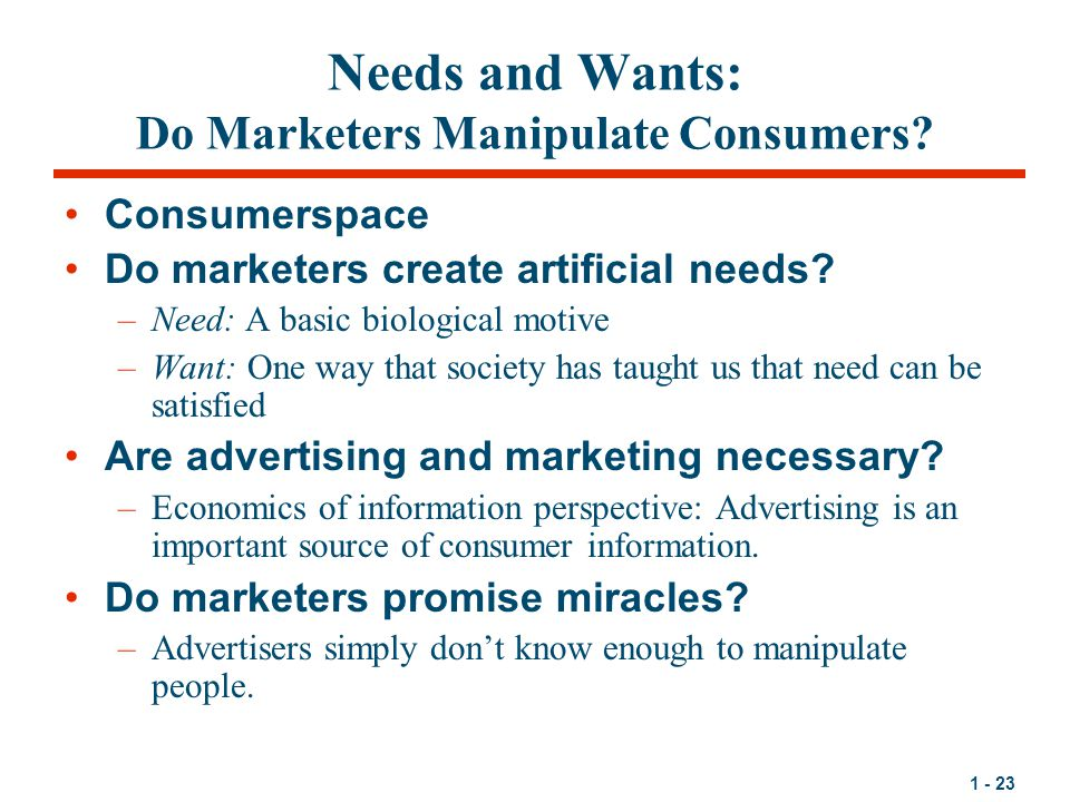 1 - 23 Needs and Wants: Do Marketers Manipulate Consumers.