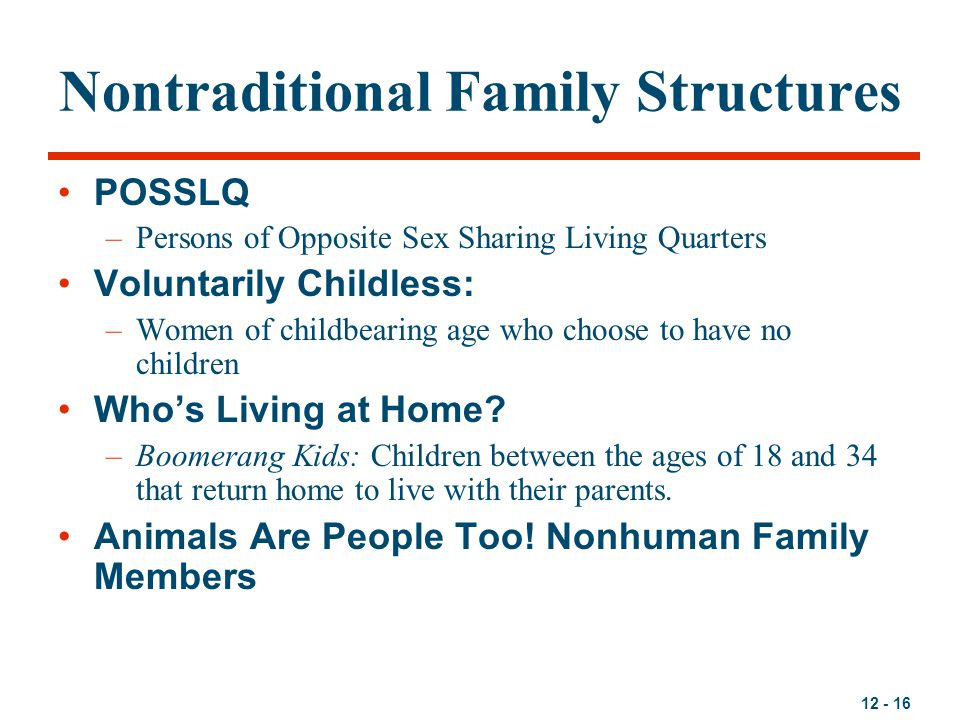 12 - 16 Nontraditional Family Structures POSSLQ –Persons of Opposite Sex Sharing Living Quarters Voluntarily Childless: –Women of childbearing age who