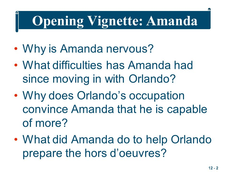 12 - 2 Opening Vignette: Amanda Why is Amanda nervous? What difficulties has Amanda had since moving in with Orlando? Why does Orlando's occupation co