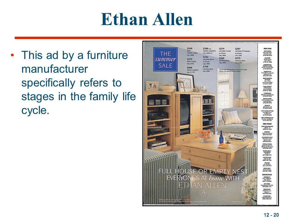 12 - 20 Ethan Allen This ad by a furniture manufacturer specifically refers to stages in the family life cycle.