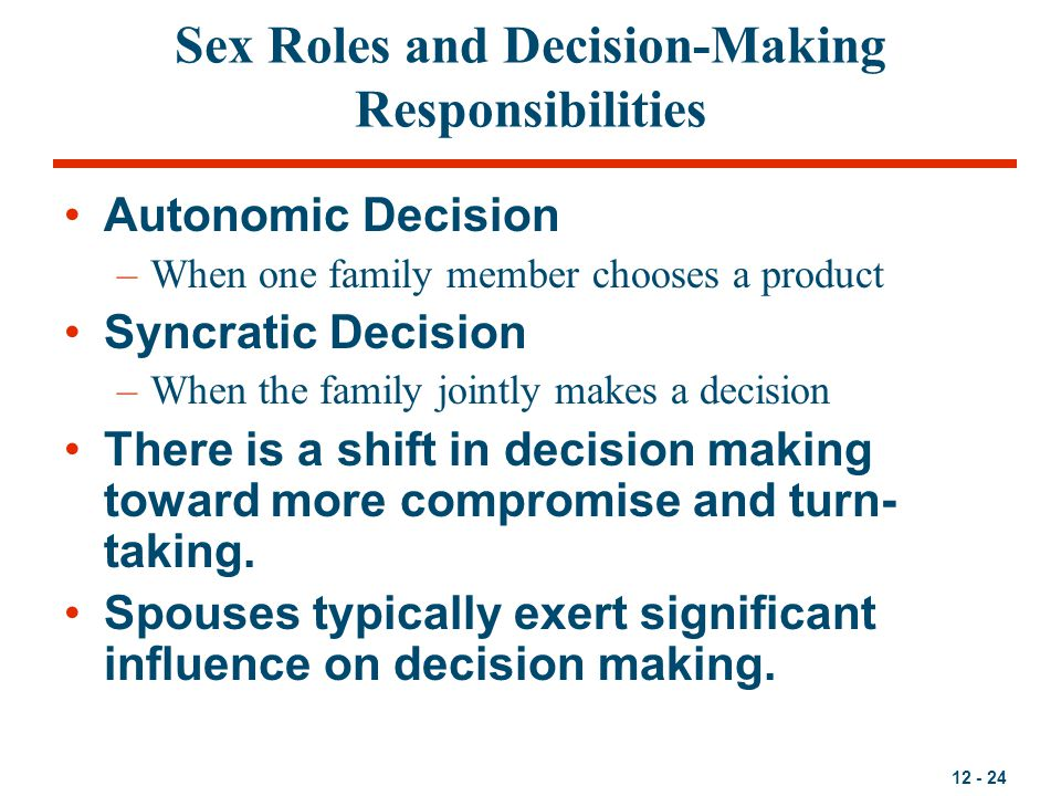 12 - 24 Sex Roles and Decision-Making Responsibilities Autonomic Decision –When one family member chooses a product Syncratic Decision –When the famil