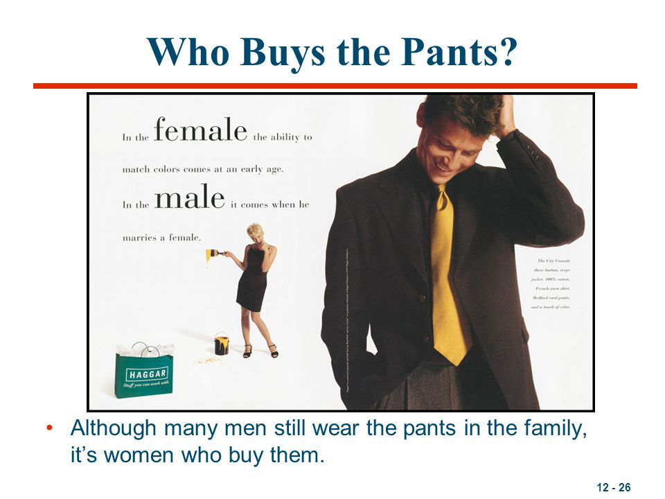 12 - 26 Who Buys the Pants? Although many men still wear the pants in the family, it's women who buy them.