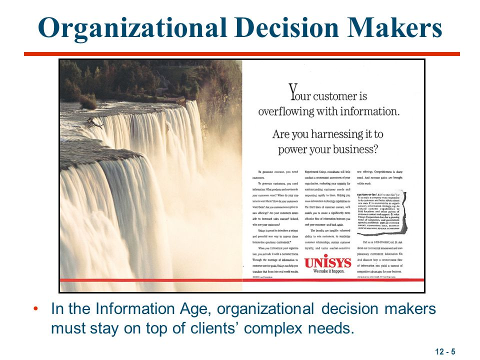 12 - 5 Organizational Decision Makers In the Information Age, organizational decision makers must stay on top of clients' complex needs.