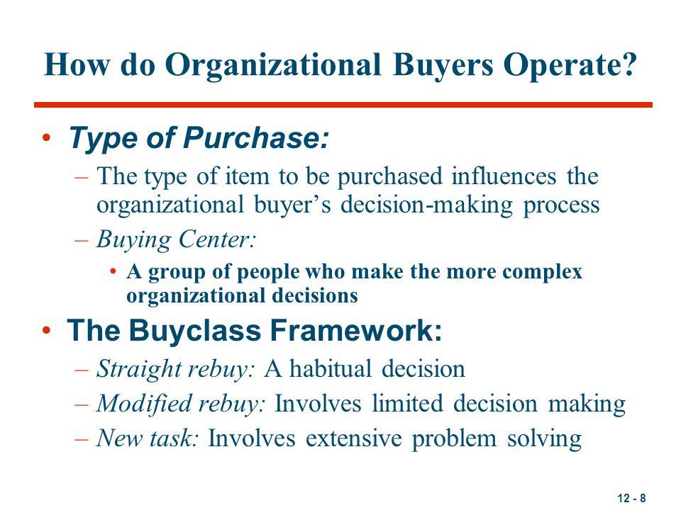 12 - 9 Organizational Buying Decision Types