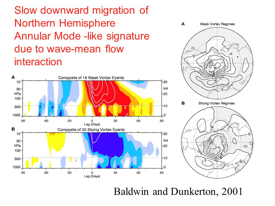 Slow downward migration of Northern Hemisphere Annular Mode -like signature due to wave-mean flow interaction Baldwin and Dunkerton, 2001