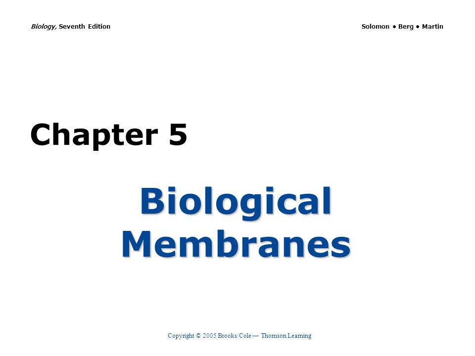 Copyright © 2005 Brooks/Cole — Thomson Learning Biology, Seventh Edition Solomon Berg Martin Chapter 5 Biological Membranes