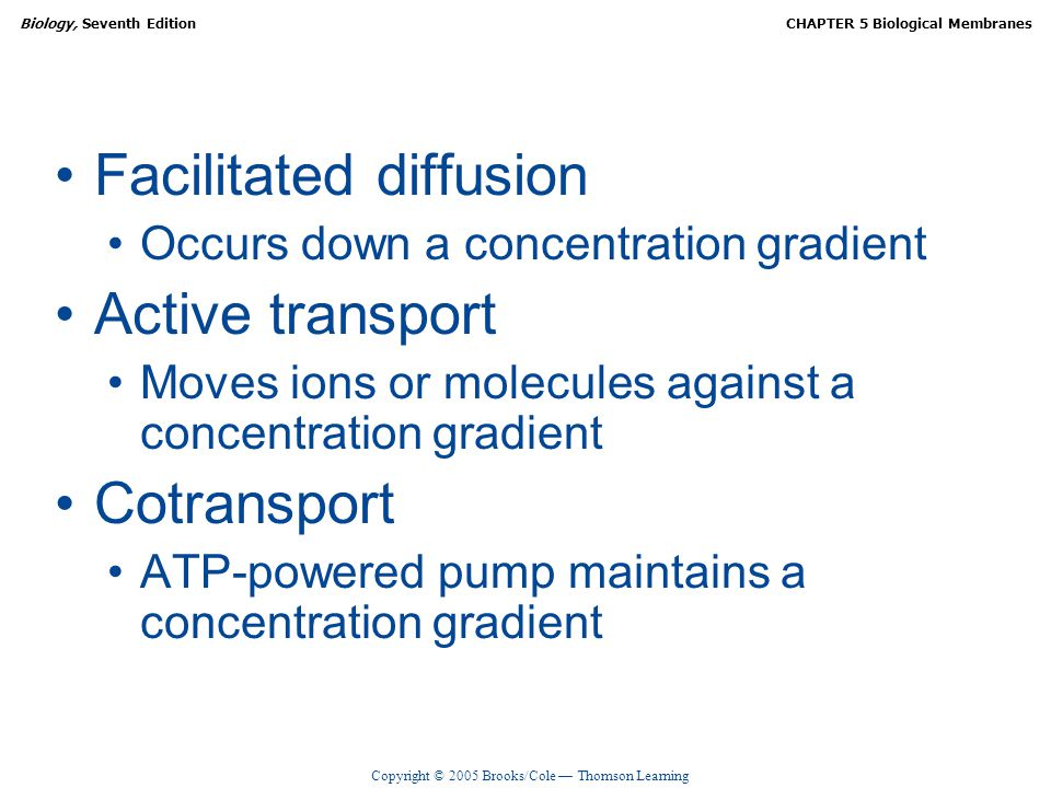 Copyright © 2005 Brooks/Cole — Thomson Learning Biology, Seventh EditionCHAPTER 5 Biological Membranes Facilitated diffusion Occurs down a concentration gradient Active transport Moves ions or molecules against a concentration gradient Cotransport ATP-powered pump maintains a concentration gradient