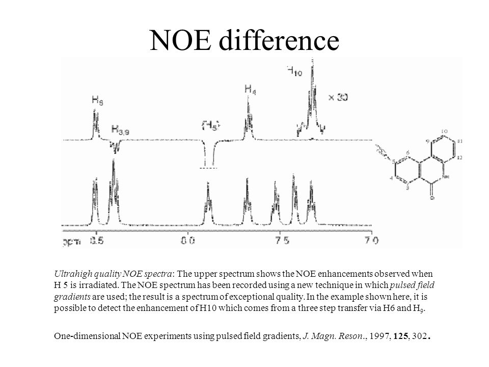 NOE difference Ultrahigh quality NOE spectra: The upper spectrum shows the NOE enhancements observed when H 5 is irradiated.