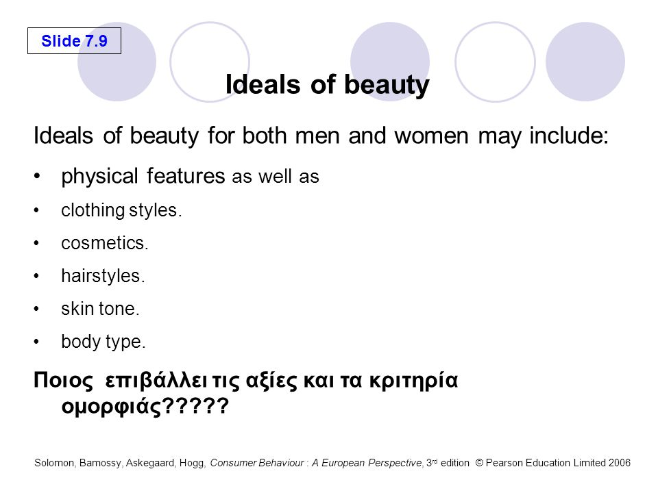 Slide 7.9 Solomon, Bamossy, Askegaard, Hogg, Consumer Behaviour : A European Perspective, 3 rd edition © Pearson Education Limited 2006 Ideals of beauty for both men and women may include: physical features as well as clothing styles.