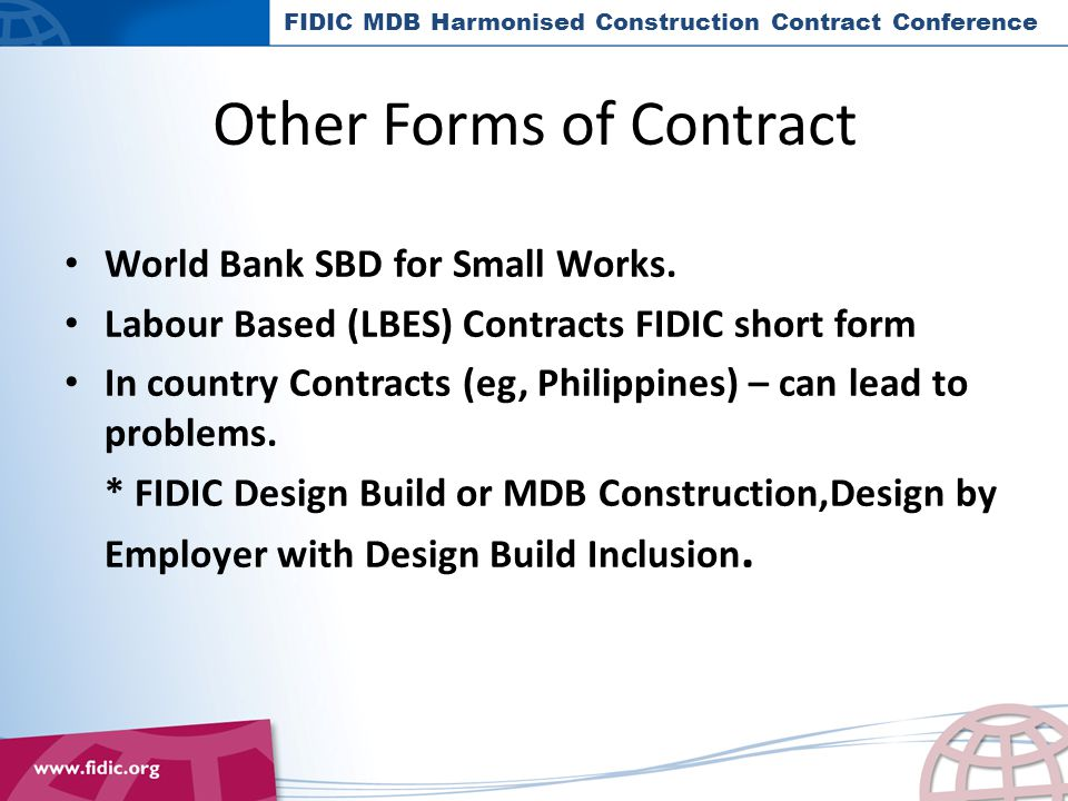 World Bank SBD for Small Works.