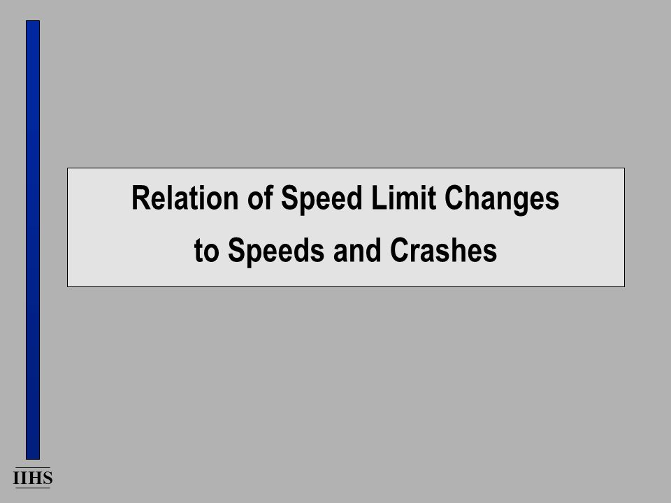 IIHS Relation of Speed Limit Changes to Speeds and Crashes