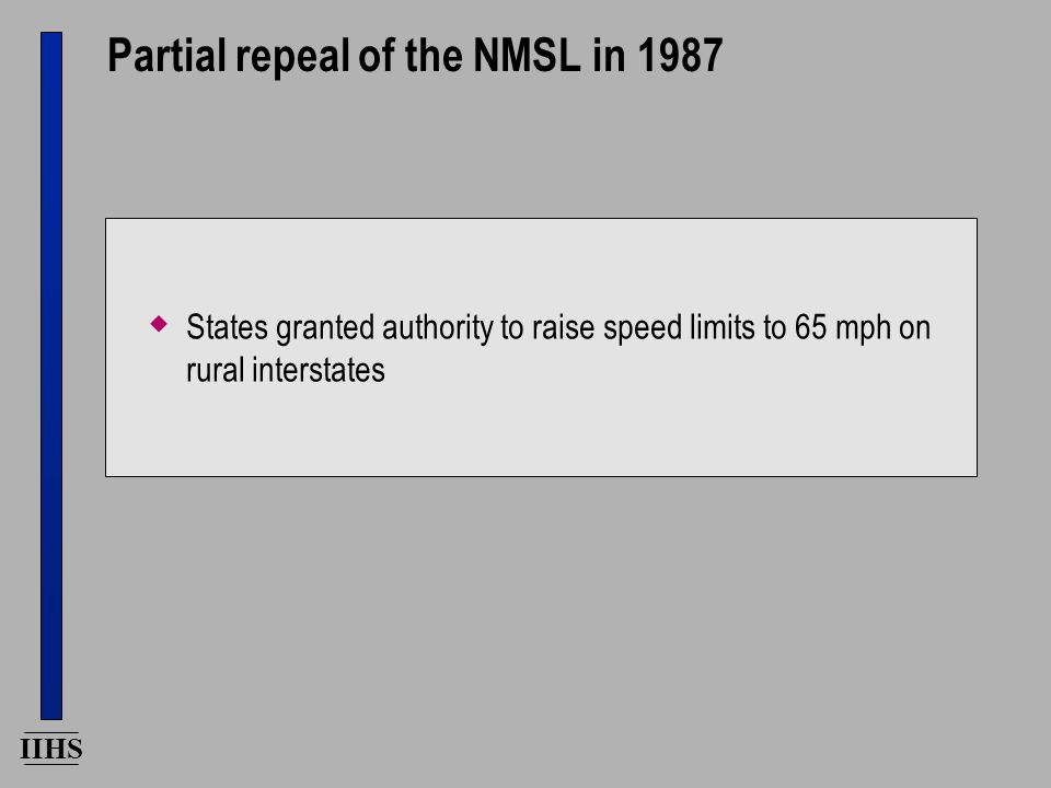 IIHS Partial repeal of the NMSL in 1987  States granted authority to raise speed limits to 65 mph on rural interstates