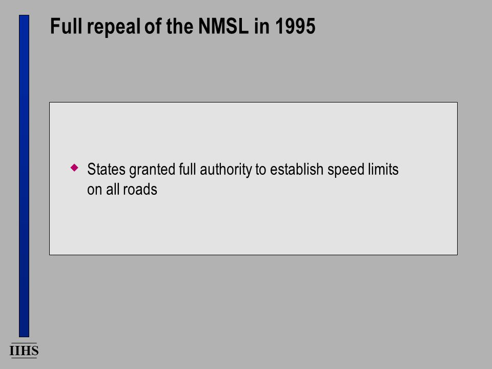 IIHS Full repeal of the NMSL in 1995  States granted full authority to establish speed limits on all roads