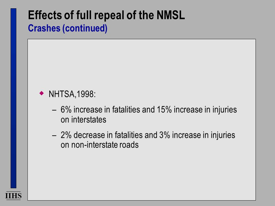 IIHS Effects of full repeal of the NMSL Crashes (continued)  NHTSA,1998: –6% increase in fatalities and 15% increase in injuries on interstates –2% decrease in fatalities and 3% increase in injuries on non-interstate roads