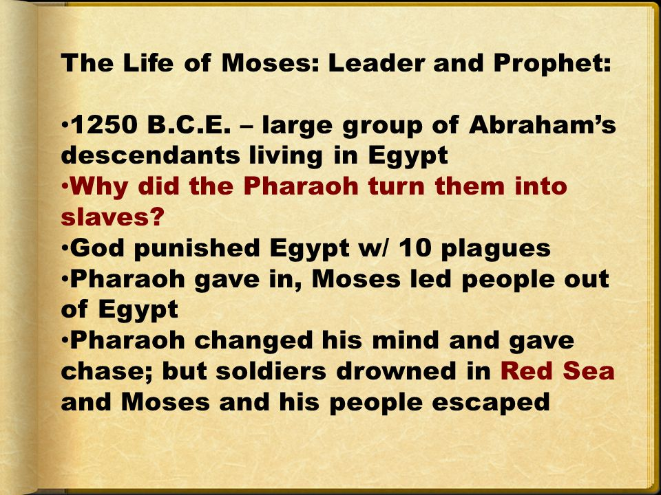 The Life of Moses: Leader and Prophet: 1250 B.C.E.
