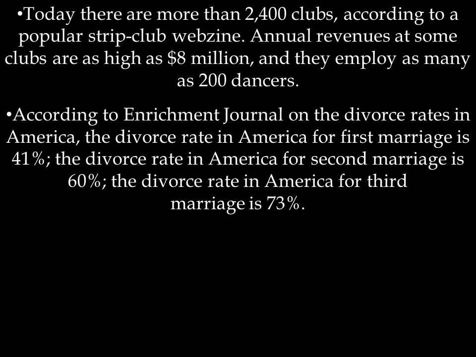 According to Enrichment Journal on the divorce rates in America, the divorce rate in America for first marriage is 41%; the divorce rate in America for second marriage is 60%; the divorce rate in America for third marriage is 73%.
