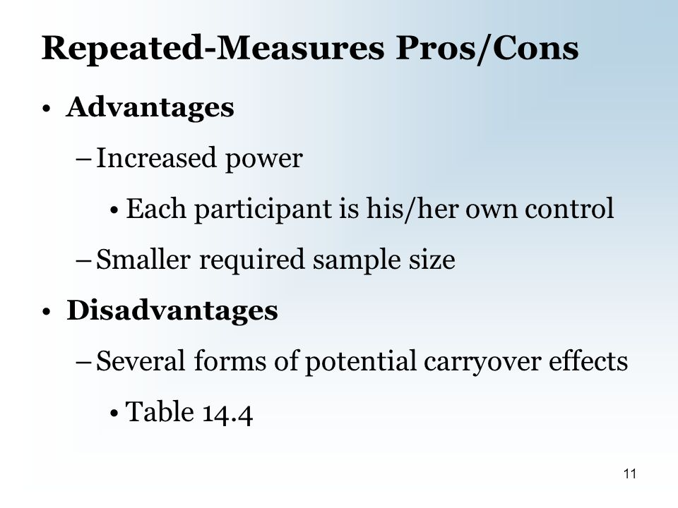 Repeated-Measures Pros/Cons Advantages –Increased power Each participant is his/her own control –Smaller required sample size Disadvantages –Several forms of potential carryover effects Table 14.4 11