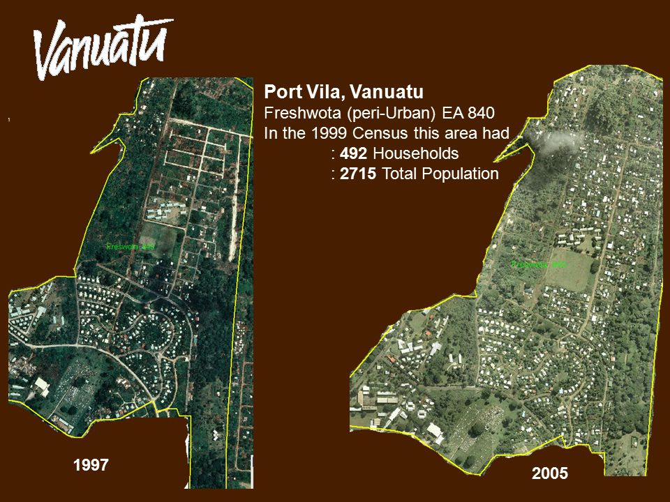 2005 1997 Port Vila, Vanuatu Freshwota (peri-Urban) EA 840 In the 1999 Census this area had : 492 Households : 2715 Total Population