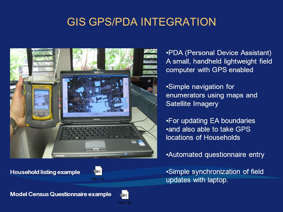 PDA (Personal Device Assistant) A small, handheld lightweight field computer with GPS enabled Simple navigation for enumerators using maps and Satellite Imagery For updating EA boundaries and also able to take GPS locations of Households Automated questionnaire entry Simple synchronization of field updates with laptop.