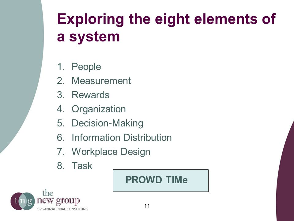 Exploring the eight elements of a system 1.People 2.Measurement 3.Rewards 4.Organization 5.Decision-Making 6.Information Distribution 7.Workplace Design 8.Task PROWD TIMe 11
