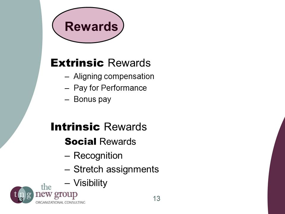 Rewards Extrinsic Rewards –Aligning compensation –Pay for Performance –Bonus pay Intrinsic Rewards Social Rewards –Recognition –Stretch assignments –Visibility 13