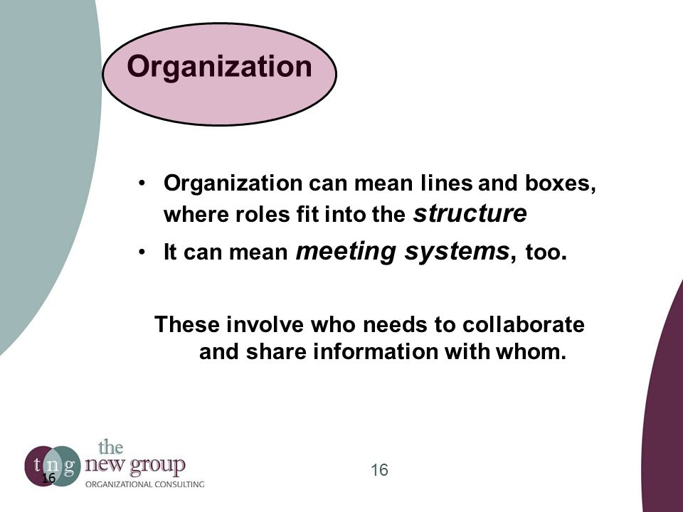 Organization Organization can mean lines and boxes, where roles fit into the structure It can mean meeting systems, too.