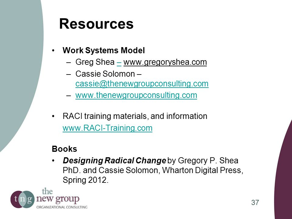 Resources Work Systems Model –Greg Shea – www.gregoryshea.com– –Cassie Solomon – cassie@thenewgroupconsulting.com cassie@thenewgroupconsulting.com –www.thenewgroupconsulting.comwww.thenewgroupconsulting.com RACI training materials, and information www.RACI-Training.com Books Designing Radical Change by Gregory P.