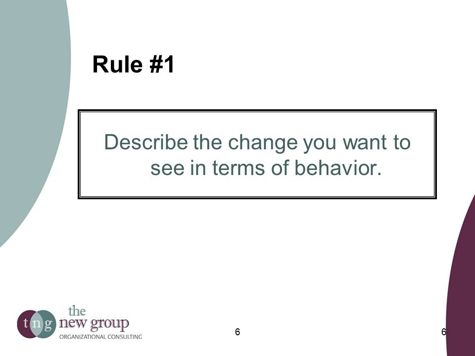 Rule #1 Describe the change you want to see in terms of behavior. 66