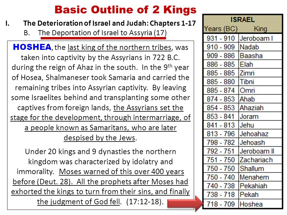 Basic Outline of 2 Kings I.The Deterioration of Israel and Judah: Chapters 1-17 B.The Deportation of Israel to Assyria (17) HOSHEA, the last king of the northern tribes, was taken into captivity by the Assyrians in 722 B.C.