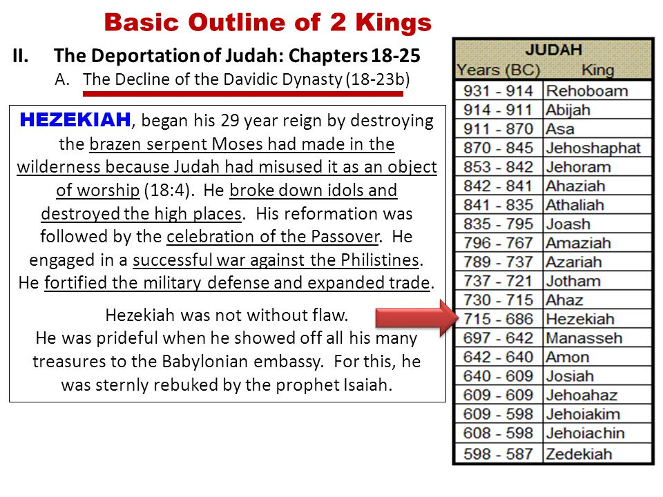 Basic Outline of 2 Kings II.The Deportation of Judah: Chapters 18-25 A.The Decline of the Davidic Dynasty (18-23b) HEZEKIAH, began his 29 year reign by destroying the brazen serpent Moses had made in the wilderness because Judah had misused it as an object of worship (18:4).