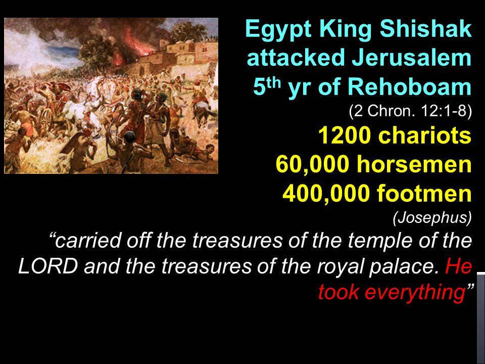 Egypt King Shishak attacked Jerusalem 5 th yr of Rehoboam (2 Chron.