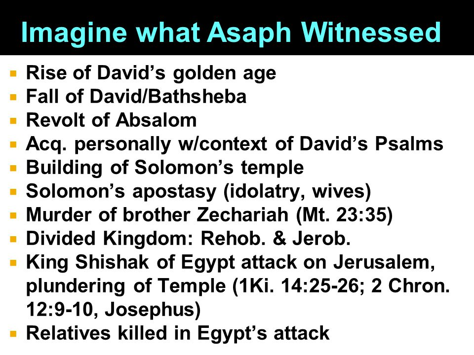  Rise of David's golden age  Fall of David/Bathsheba  Revolt of Absalom  Acq.