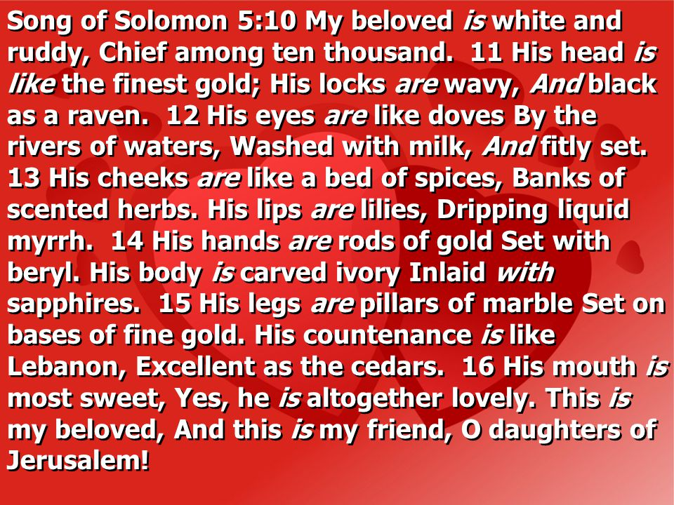 Song of Solomon 5:10 My beloved is white and ruddy, Chief among ten thousand.