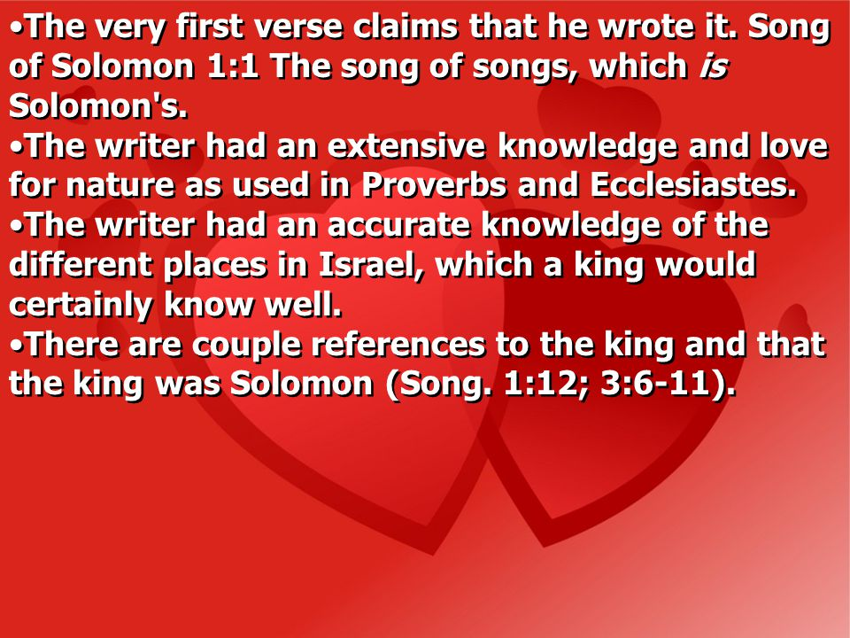 Walter notes: The book then was intended as a commentary on Genesis 2:24 and a manual on the blessing and reward of intimate married love once Yahweh had lit the flame and given the capability of enjoyment (Walter C.