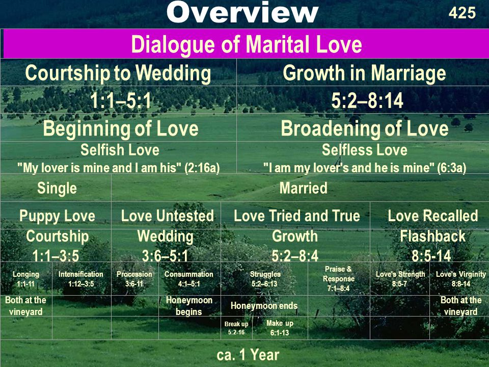 Overview 425 Dialogue of Marital Love Courtship to WeddingGrowth in Marriage 1:1–5:1 5:2–8:14 Beginning of LoveBroadening of Love Selfish Love